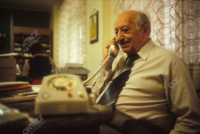 Holocaust survivor and Nazi hunter Simon Wiesenthal in his office at the Jewish Documentation Center. Vienna, Austria, June 1979