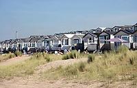 Nederland IJmuiden - 2019. Strandhuisjes in IJmuiden. Foto Berlinda van Dam / Hollandse Hoogte