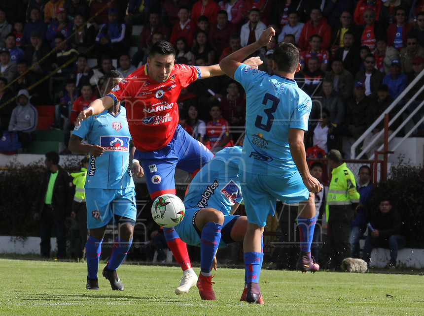IPIALES - COLOMBIA, 05-06-2019: Carlos Hidalgo del Pasto en acción durante partido por la fecha 6, cuadrangulares semifinales, de la Liga Águila I 2019 entre Deportivo Pasto y Unión Magdalena jugado en el estadio Estadio Municipal de Ipiales. / Carlos Hidalgo of Pasto in action during match for the date 6, semifinal quadrangulars, as part of Aguila League I 2019 between Deportivo Pasto and Union Magdalena played at Municipal stadium of Ipiales.  Photo: VizzorImage / Leonardo Castro / Cont