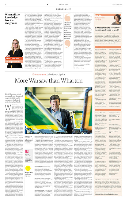 Financial Times (British economic daily) on entrepreneurs in Polish economy, Warsaw, May 2016.<br />