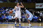 01 March 2015: Duke's Rebecca Greenwell (23) and North Carolina's Jamie Cherry (right). The Duke University Blue Devils hosted the University of North Carolina Tar Heels at Cameron Indoor Stadium in Durham, North Carolina in a 2014-15 NCAA Division I Women's Basketball game. Duke won the game 81-80.