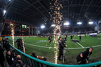 Flame pots fire during the Steinlager Series international rugby match between the New Zealand All Blacks and France at Forsyth Barr Stadium in Wellington, New Zealand on Saturday, 23 June 2018. Photo: Dave Lintott / lintottphoto.co.nz