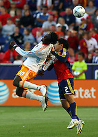 Kei Kamara, Tony Beltran in the Real Salt Lake v Houston 0-0 draw win at Rio Tinto Stadium in Sandy, Utah on August 15, 2009