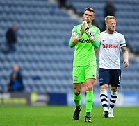 Preston North End's Declan Rudd, left, with team-mate Tom Clarke at the end of the game<br /> <br /> Photographer Chris Vaughan/CameraSport<br /> <br /> The EFL Sky Bet Championship - Preston North End v Reading - Saturday 15th September 2018 - Deepdale - Preston<br /> <br /> World Copyright &copy; 2018 CameraSport. All rights reserved. 43 Linden Ave. Countesthorpe. Leicester. England. LE8 5PG - Tel: +44 (0) 116 277 4147 - admin@camerasport.com - www.camerasport.com