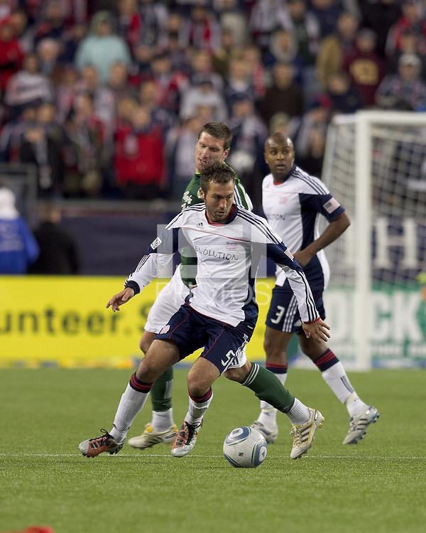New England Revolution defender A.J. Soares (5). In a Major League Soccer (MLS) match, the New England Revolution tied the Portland Timbers, 1-1, at Gillette Stadium on April 2, 2011.