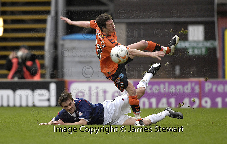 23/02/2008    Copyright Pic: James Stewart.File Name : sct_jspa10_dundeee_utd_v_falkirk.KEVIN MCBRIDE CHALLENGES DANNY SWANSON.James Stewart Photo Agency 19 Carronlea Drive, Falkirk. FK2 8DN      Vat Reg No. 607 6932 25.Studio      : +44 (0)1324 611191 .Mobile      : +44 (0)7721 416997.E-mail  :  jim@jspa.co.uk.If you require further information then contact Jim Stewart on any of the numbers above........