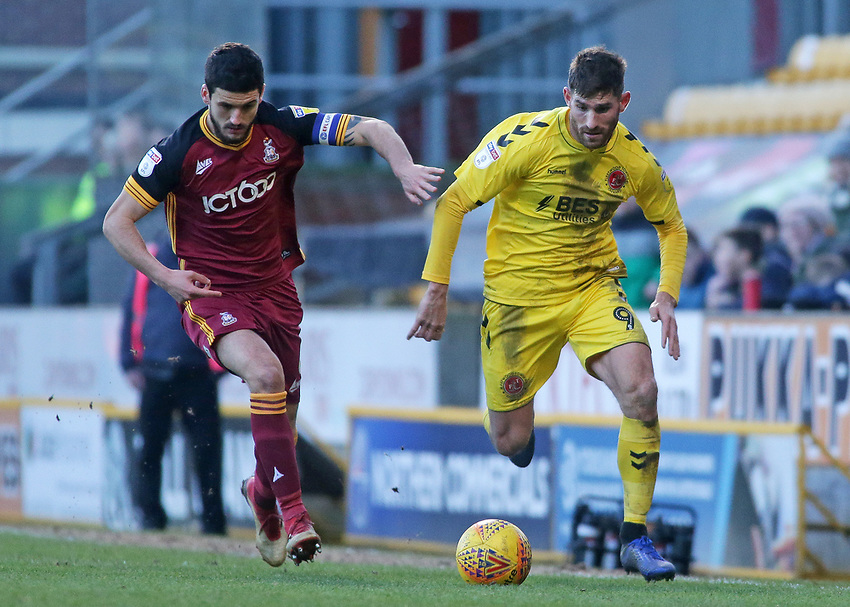 Fleetwood Town's Ched Evans gets away from Bradford City's Anthony O'Connor<br /> <br /> Photographer David Shipman/CameraSport<br /> <br /> The EFL Sky Bet League One - Bradford City v Fleetwood Town - Saturday 9th February 2019 - Valley Parade - Bradford<br /> <br /> World Copyright © 2019 CameraSport. All rights reserved. 43 Linden Ave. Countesthorpe. Leicester. England. LE8 5PG - Tel: +44 (0) 116 277 4147 - admin@camerasport.com - www.camerasport.com