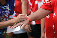 Pictured: A wristband is worn by participants in Cardiff, Wales, UK. Wednesday 24 August 2016<br />