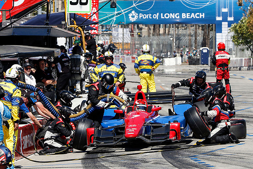 15-17 April, 2016, Long Beach, California USA<br /> 7 Mikhail Aleshin pit stop<br /> ©2016, Sam Cobb<br /> LAT Photo USA