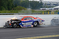 Sept. 16, 2012; Concord, NC, USA: NHRA pro stock driver Shane Gray crashes during the O'Reilly Auto Parts Nationals at zMax Dragway. Gray would be uninjured. Mandatory Credit: Mark J. Rebilas-