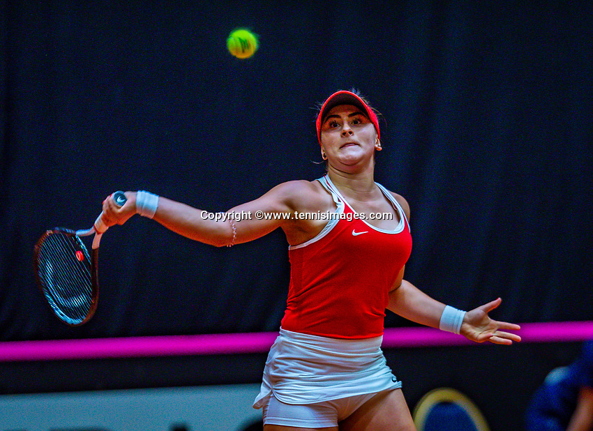 Den Bosch, The Netherlands, Februari 10, 2019,  Maaspoort , FedCup  Netherlands - Canada, first match Sunday : Bianca Andreescu (CAN)<br /> Photo: Tennisimages/Henk Koster