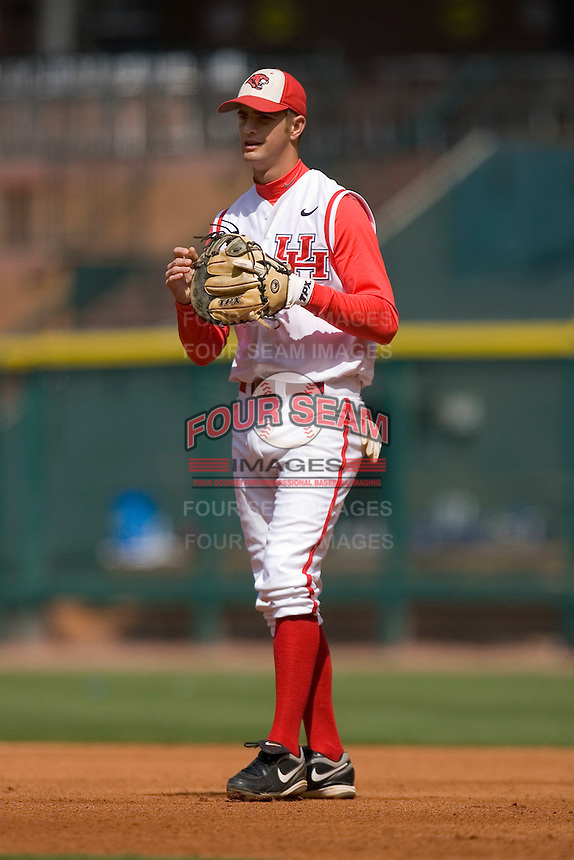 First baseman Chase Dempsay #9 of the Houston Cougars on defense versus the UC-Irvine Anteaters in the 2009 Houston College Classic at Minute Maid Park February 28, 2009 in Houston, TX.  The Anteaters defeated the Cougars 13-7. (Photo by Brian Westerholt / Four Seam Images)