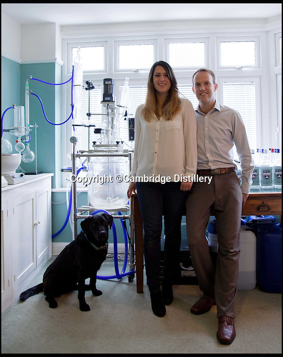 BNPS.co.uk (01202 558833)<br /> Pic: CambridgeDistillery/BNPS<br /> <br /> Will Lowe with wife Lucy and their Labrador Darcy<br /> <br /> A British distiller has just launched the world's most expensive gin - with a 70cl bottle costing a staggering &pound;2,000.<br /> <br /> Just six bottles of the prized spirit were made by Cambridge's Will Lowe after he found a way to capture the 'angel's share' - the minuscule amount lost to evaporation during distilling - of his premium Japanese Gin.<br /> <br /> Canny Will painstakingly collected just 15 millilitres of the evaporated gin from each distillation, around one per cent of the entire batch, until he had enough to fill six decanters.<br /> <br /> The 45 per cent ABV gin, called Watenshi, has just gone on sale at upmarket London store Selfridge's - and with its massive &pound;2,000 price tag the exclusive tipple is more than four times the price of Dutch dry gin Nolet's Reserve, which at &pound;450 a bottle was previously regarded as the world's most expensive gin.