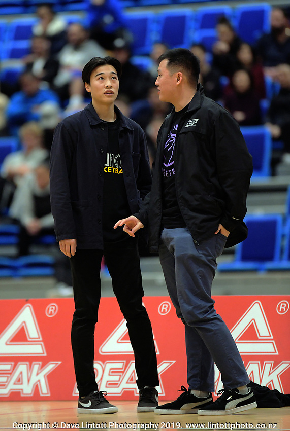 Hutt Valley coaches Cameron Yee (left) and Zach Young during the National Under-23 Basketball Championship men's final between Hutt Valley Wellington and Manawatu at Te Rauparaha Arena in Porirua, New Zealand on Saturday, 10 August 2019. Photo: Dave Lintott / lintottphoto.co.nz