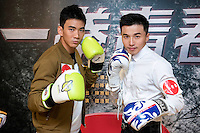 Launch of the MMA movie 'Fist of Youth' in Hong Kong. Stars of the movie L to R MMA actor Jason Li Zongyan and A-Wei (Liu Jun Wei) from Lollipop F a Taiwanese Mandopop boy band. Hong Kong on August 26, 2016