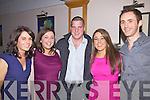 Getting ready for a big night at the Dromid GAA social on Saturday night last at The Waterville Lake Hotel were l-r; Elaine O'Shea, Mairead O'Shea, P.J. Moran, Niamh O'Connor & Donald O'Sullivan.