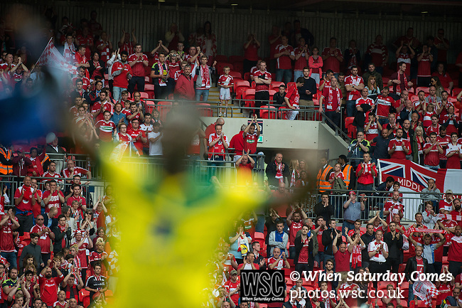 Norwich City 2 Middlesbrough 0, 25/05/2015. Wembley Stadium, Championship Play Off Final. Alexander Tettey celebrates. A match worth £120m to the victors. On the day Norwich City secured an instant return to the Premier League with victory over Middlesbrough in front of 85,656. Photo by Simon Gill.