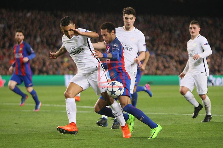 UEFA Champions League 2016/2017.<br /> Round of 16 2nd leg<br /> FC Barcelona vs Paris Saint-Germain: 6-1.<br /> Marquinhos vs Neymar Jr.