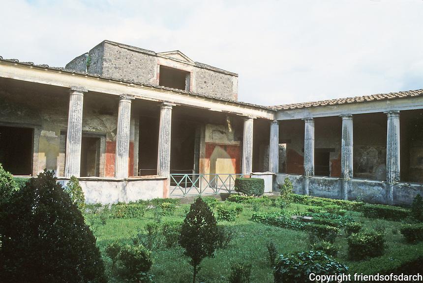 Italy: Pompeii--Pompeiian House, Peristyle and Garden.