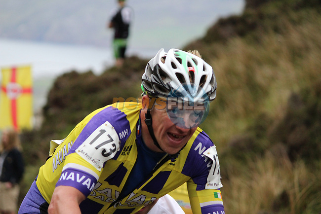 Johnny Clarke Meath Navan Road Club on the first Cat 1 climb Mamore Gap during Stage 4 of the 2017 An Post Ras running 151.8km from Bundoran to Buncrana, Ireland. 24th May 2017.<br /> Picture: Andy Brady | Cyclefile<br /> <br /> <br /> All photos usage must carry mandatory copyright credit (&copy; Cyclefile | Andy Brady)