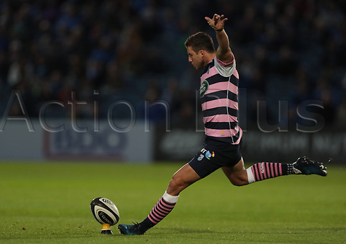 8th September 2017, RDS Arena, Dublin, Ireland; Guinness Pro14 Rugby, Leinster versus Cardiff Blues; Steve Shingler (Cardiff Blues) converts a penalty