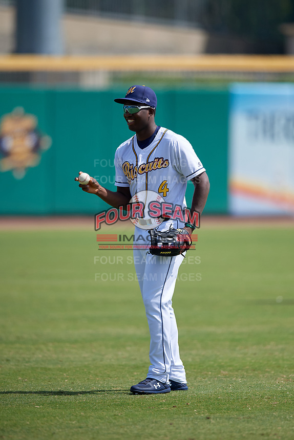 Montgomery Biscuits right fielder Jesus Sanchez (4) warms up in the outfield before a Southern League game against the Mobile BayBears on May 2, 2019 at Riverwalk Stadium in Montgomery, Alabama.  Mobile defeated Montgomery 3-1.  (Mike Janes/Four Seam Images)