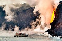 People on the seacliff above the giant lava Fire hose, Kamokuna ocean entry, Kilauea volcano, Hawaii Volcanoes National Park, Big Island, Hawaii, USA