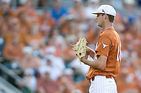 Texas Longhorns starting pitcher Taylor Jungmann #26 looks into the catcher for a sign against the Arizona State Sun Devls in NCAA Tournament Super Regional baseball on June 10, 2011 at Disch Falk Field in Austin, Texas. (Photo by Andrew Woolley / Four Seam Images)