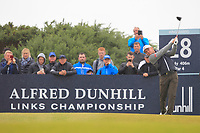 Eddie Pepperell (ENG) on the 18th tee during Round 2 of the Alfred Dunhill Links Championship 2019 at Kingbarns Golf CLub, Fife, Scotland. 27/09/2019.<br /> Picture Thos Caffrey / Golffile.ie<br /> <br /> All photo usage must carry mandatory copyright credit (© Golffile | Thos Caffrey)
