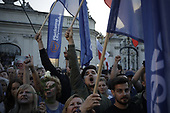 Warsaw, Poland, 20/07/2017:<br /> Anti-Pis government protesters during evening rally by the Presidential Palace,  are listening to the opposition leaders, after the bill to change the way of electing the Supreme Court judges, which  curbs rule of law in Poland has been passed.<br /> Photo by Piotr Malecki /  Napo Images<br /> <br /> Warszawa, 20/07/2017<br /> &quot;Swiatelko&quot;, protestujacy pod palacem prezydenckim  po tym jak ustawa zmieniajaca sposob wybierania sedziow Sadow Najwyzszego zostala uchwalona.<br /> Fot: Piotr Malecki / Napo Images