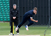Cricket Scotland - Scotland train at Kent County cricket ground at Benkenham, ahead of two matches against Sri Lanka, on Sunday (tomorrow) and Tuesday - pic shows Stuart Whittingham bowling in the nets past Scottish Umpire Alan Haggo- picture by Donald MacLeod - 20.05.2017 - 07702 319 738 - clanmacleod@btinternet.com - www.donald-macleod.com