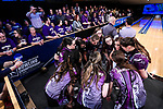 CLAYTON, MO - APRIL 14: McKendree University huddles during a timeout during the Division I Women's Bowling Championship held at Tropicana Lanes on April 14, 2018 in Clayton, Missouri. Vanderbilt University defeated McKendree University 4-3. (Photo by Tim Nwachukwu/NCAA Photos via Getty Images)