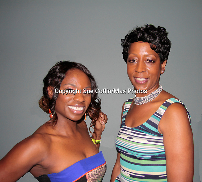 Delaina Dixon (The Gossip Table) and Monica Bailey (Big Brother) at The Knick - on Cinemax - premiering Aug 2014 - starring Andre Holland, Leon Addison Brown, David Fierro and more on July 23, 2014 at NY Academy of Medicine , New York City, New York.  (Photo by Sue Coflin/Max Photos)