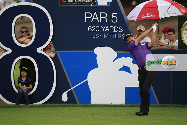Padraig Harrington (IRL) tees off the 18th tee during Friday's Round 2 of the season ending DP World Tour Championship 2012 held on the Earth Course at the Jumeirah Golf Estates,Dubai. 23rd November 2012 (Photo Eoin Clarke/www.golffile.ie)