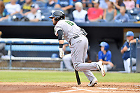 Augusta GreenJackets Frankie Tostado (8) runs to first base during a game against the Asheville Tourists at McCormick Field on July 13, 2019 in Asheville, North Carolina. The GreenJackets defeated the Tourists 6-4. (Tony Farlow/Four Seam Images)