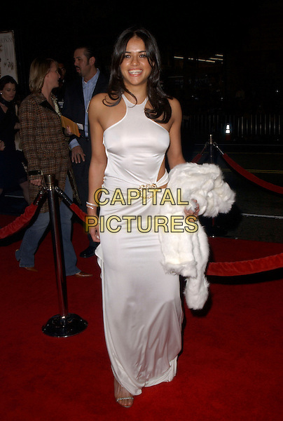 "MICHELLE RODRIGUEZ.Attends The Warner Brothers' World Premiere of ""Alexander"" held at The Graumann's Chinese Theatre in Hollywood, California, USA, November 16th 2004.full length white dress .Ref: DVS.www.capitalpictures.com.sales@capitalpictures.com.©Debbie VanStory/Capital Pictures"