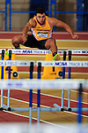 12 MAR 2016:  Luca Wieland of the University of Minnesota competes in the 60m Hurdles in the Heptathlon during the Division I Men's Indoor Track & Field Championship held at the Birmingham Crossplex in Birmingham, Al. Tom Ewart/NCAA Photos