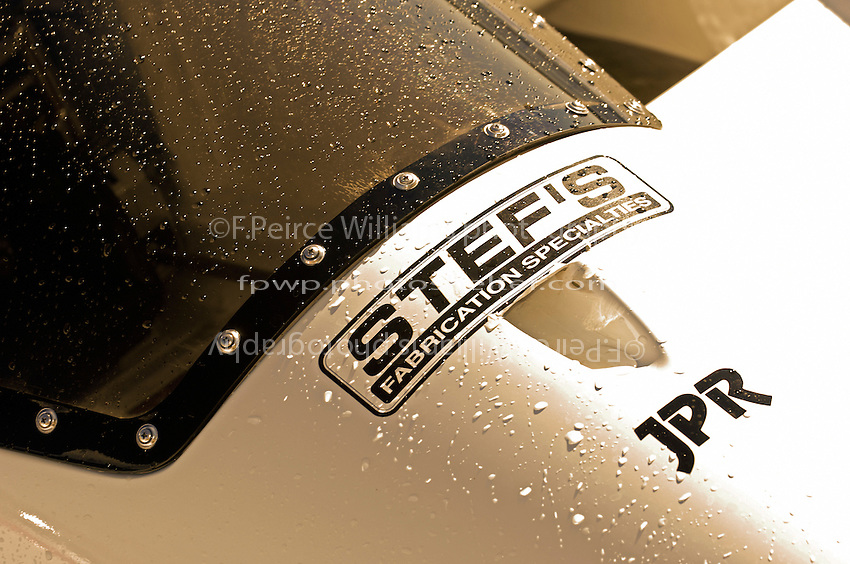 "Detail: Water drops and Joe Pro sticker, GP-88, ""Rolling Thunder"" (Grand Prix Hydroplane(s)"