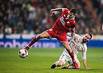 "Victor Machin Perez ""Vitolo"" of Sevilla FC competes for the ball with Daniel Carvajal Ramos of Real Madrid during their Copa del Rey Round of 16 match between Real Madrid and Sevilla FC at the Santiago Bernabeu Stadium on 04 January 2017 in Madrid, Spain. Photo by Diego Gonzalez Souto / Power Sport Images"
