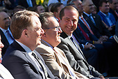 From left to right: United States Trade Representative Robert Lighthizer, Administrator of the United States Environmental Protection Agency Andrew Wheeler, and United States Secretary of Health and Human Services (HHS) Alex Azar were introduced by United States President Donald J. Trump as he hosted the St. Louis Blues, the 2019 Stanley Cup Champions, at the White House in Washington D.C., U.S. on Tuesday, October 15, 2019.<br /> <br /> Credit: Stefani Reynolds / CNP