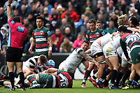 Alapati Leiua of Bristol Bears celebrates a try from team-mate Harry Thacker in the second half. Gallagher Premiership match, between Leicester Tigers and Bristol Bears on April 27, 2019 at Welford Road in Leicester, England. Photo by: Patrick Khachfe / JMP