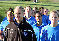Leslie Osborne#12 and Kristine Lilly#13 of the Boston Breakers before the home opener for the Washington Freedom in a WPS match against the Boston Breakers on April 10 2010, at the Maryland Soccerplex, in Boyds, Maryland. Breakers won 2-1.