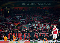 AC Milan fans during the UEFA Europa League round of 16 2nd leg match between Arsenal and AC Milan at the Emirates Stadium, London, England on 15 March 2018. Photo by Vince  Mignott / PRiME Media Images.