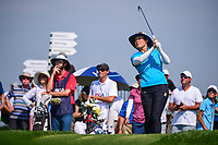 Tiffany Joh (USA) watches her tee shot on 16 during Thursday's first round of the 72nd U.S. Women's Open Championship, at Trump National Golf Club, Bedminster, New Jersey. 7/13/2017.<br /> Picture: Golffile | Ken Murray<br /> <br /> <br /> All photo usage must carry mandatory copyright credit (&copy; Golffile | Ken Murray)