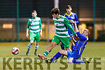 Cathal O'Shea Killarney Celtic is tackled by Kevin Henley  Bridgeview United during their Munster Champions Cup clash in Celtic Park on Saturday night