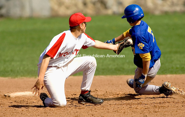 WOLCOTT, CT--02 MAY 2007--050207JS04- Seymour's John Murphy (7) slips past the tag attempt by Wolcott's Ryan Pelletier (4) to safely steal second during their game Wednesday at the BAW field in Wolcott. <br /> Jim Shannon/Republican-American