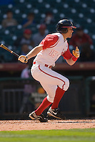 Zak Presley #15 of the Houston Cougars follows through on his swing versus the UC-Irvine Anteaters in the 2009 Houston College Classic at Minute Maid Park February 28, 2009 in Houston, TX.  The Anteaters defeated the Cougars 13-7. (Photo by Brian Westerholt / Four Seam Images)