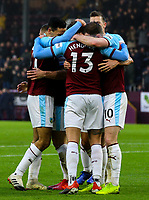Burnley's Jeff Hendrick celebrates with teammates after his shot was deflected in<br /> <br /> Photographer Alex Dodd/CameraSport<br /> <br /> The Premier League - Burnley v Fulham - Saturday 12th January 2019 - Turf Moor - Burnley<br /> <br /> World Copyright © 2019 CameraSport. All rights reserved. 43 Linden Ave. Countesthorpe. Leicester. England. LE8 5PG - Tel: +44 (0) 116 277 4147 - admin@camerasport.com - www.camerasport.com