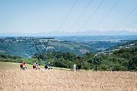 Today's breakaway group rolling along with the mighty Alps as a backdrop: Alessandro De Marchi (ITA/CCC), Yoann Bagot (FRA/Vital Concept - B&B) & Stéphane Rossetto (FRA/Cofidis)<br /> <br /> Stage 5: Boën-sur-Lignon to Voiron (201km)<br /> 71st Critérium du Dauphiné 2019 (2.UWT)<br /> <br /> ©kramon