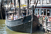 Crowds lined up to take tours aboard the Nina and Pinta, floating museums that are replicas of Christopher Columbus  ships. Families and classrooms can tour the Nina and Pinta, which will remain docked until April 10, Naple, Florida, USA. Photo by Debi Pittman Wilkey